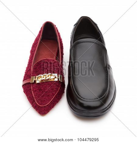 Ladies Shoes And Men's Shoe, Concept Of Harmony Couple Or Partnership And Equality