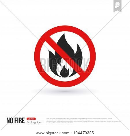 No fire vector icon outdoor sign