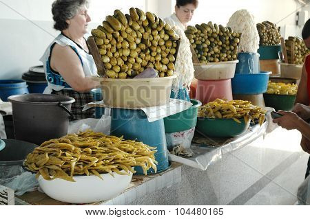 Pickled Cucumbers And Peppers In The Bazaar Of Yerevan Market, Armenia