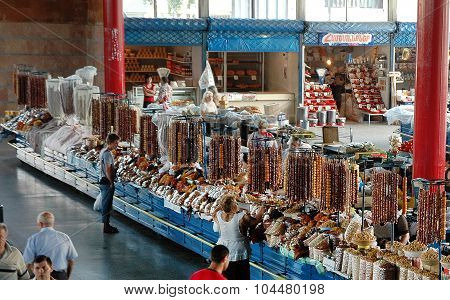 Dried Fruits And Sweets In The Bazaar Of Yerevan Market, Armenia