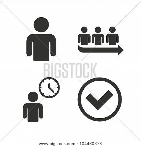 Queue icon. Person waiting sign. Check and time.