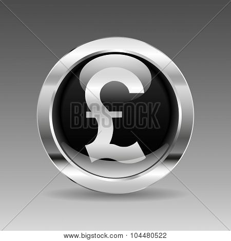 Black Glossy Chrome Button - British Pound Sign