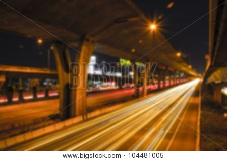 Abstract Blur Of Night Road Under The Expressway.