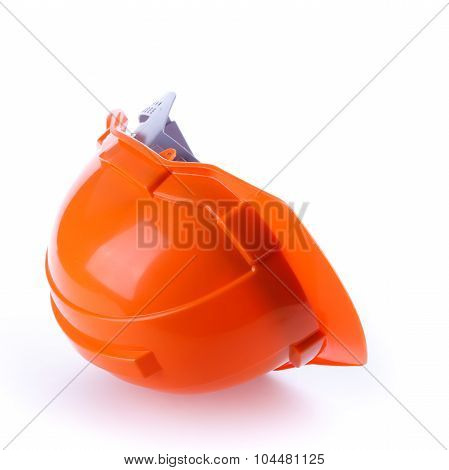 Orange Safety Helmet Hard Hat, Tool Protect Worker Of Danger In Construction Industry, Isolated
