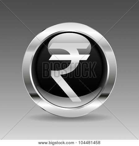 Black Glossy Chrome Button - Indian Rupee Sign