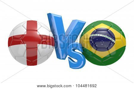 Soccer versus match between national teams England and Brazil