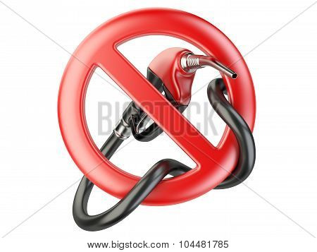 No Gasoline, Nozzle Fuel Sign Ban. No Gas Station Icon
