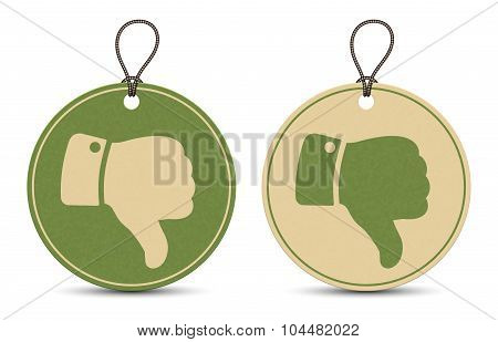 Two Paper Thumb Down Tags Isolated On White Background
