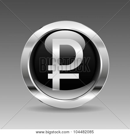 Black Glossy Chrome Button - Russian Ruble Sign