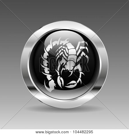 Black Glossy Chrome Button - Scorpion