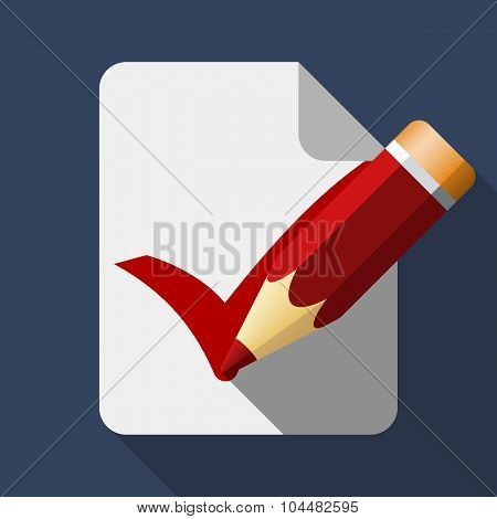 Pencil With Checkbox Icon, Stock Vector