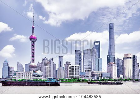 Beiging, China- May 24,  2015: Oriental Pearl Tower On  Blue Sky Background. Tower 470 Meter The Ori