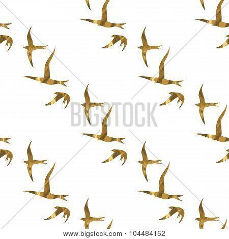 Gold Birds Seamless Pattern