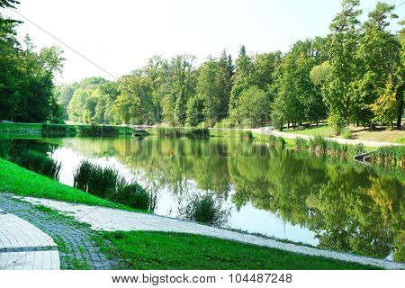 Lake in park Feofania. Kiev, Ukraine