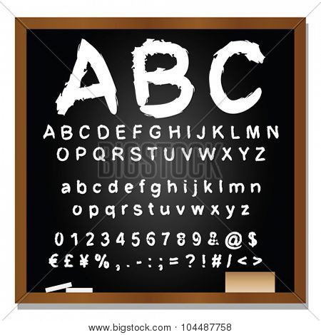 Vector concept or conceptual set or collection of black handwritten, sketch or scribble fonts isolated on blackboard black background