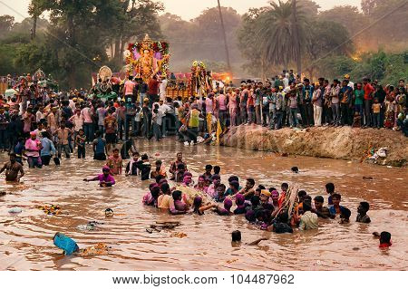 Ritual of Hindu God Idol Ganesh Immersion.