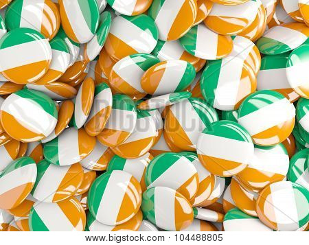 Background With Round Pins With Flag Of Cote_d_ivoire