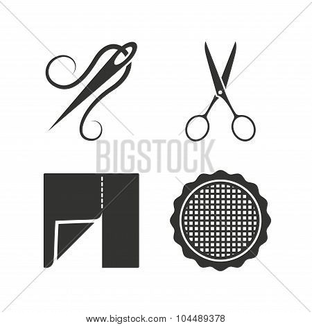 Textile cloth piece icon. Scissors hairdresser.