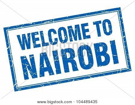 Nairobi Blue Square Grunge Welcome Isolated Stamp
