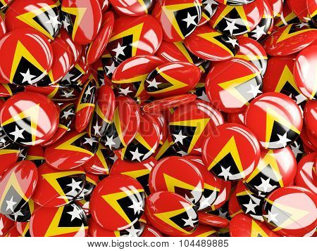 Background With Round Pins With Flag Of East_timor