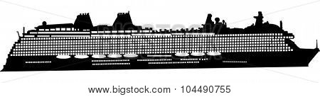 illustration with large ship silhouette isolated on white background