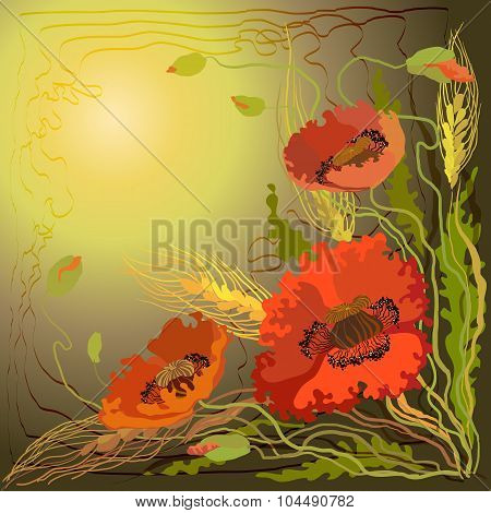 Red and orange poppy flowers and spike lets of wheat.