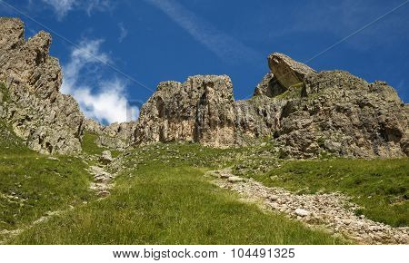 rock formations in an alpine meadow