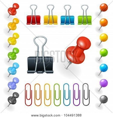 Pins and Paper Clips Collection. Vector