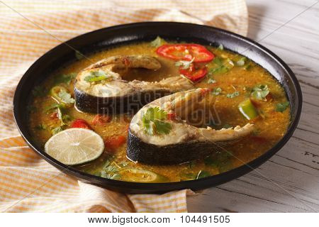 Indian Fish Curry With Vegetables Close-up. Horizontal