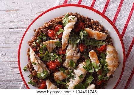 Grilled Chicken With Lentils And Cilantro Close-up. Horizontal Top View