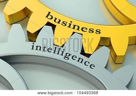 Business Intelligence Concept On The Gearwheels