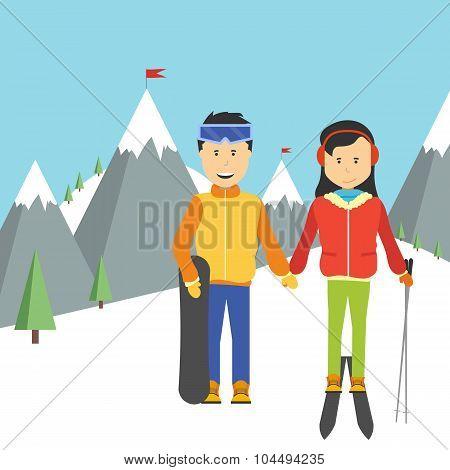 Portrait Of Happy Couple Skiers