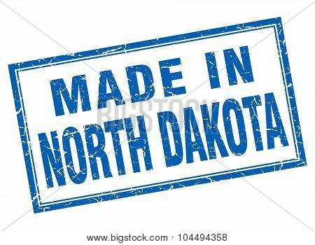 North Dakota Blue Square Grunge Made In Stamp