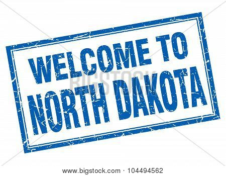 North Dakota Blue Square Grunge Welcome Isolated Stamp