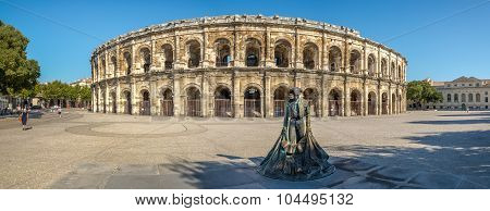 Panorama View At The Ancient Roman Theatre (arena) Of Nimes