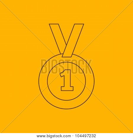 1st place medal line icon