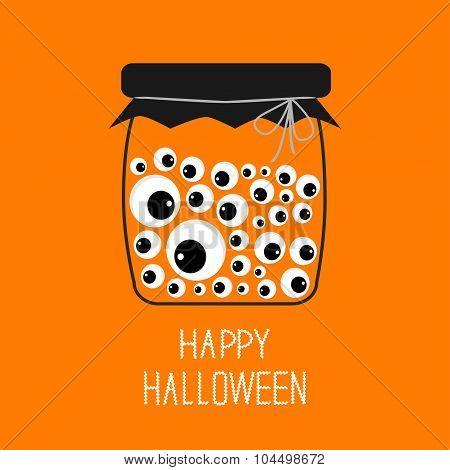 Glass Bottle Jar With Eyeballs Halloween Card. Spooky Orange Background Flat Design.