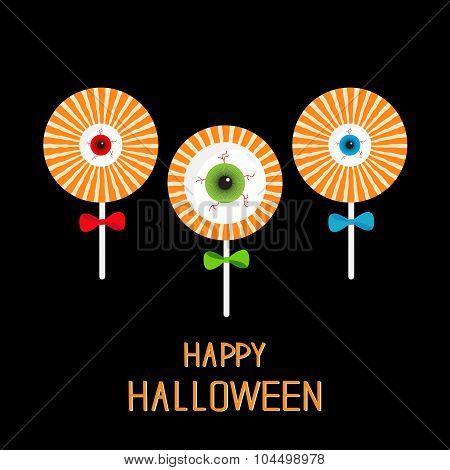 Lollipop With Eyeball Set. Red, Green, Blue Bow. Happy Halloween Card. Flat Design