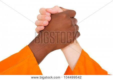 multiracial men holding hands isolated on white