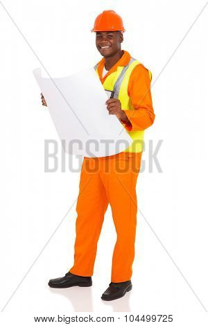 happy young african architect holding blue print on white background