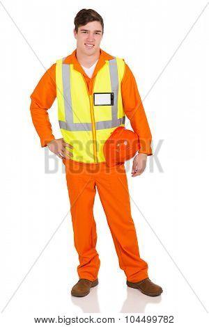 happy contractor holding helmet isolated on white