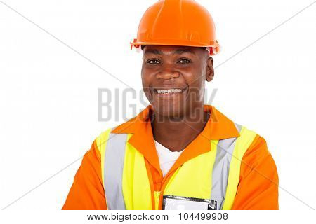 close up portrait of young african workman in uniform