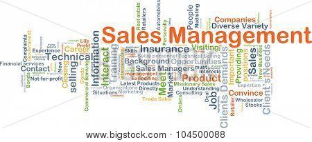 Background concept wordcloud illustration of sale management