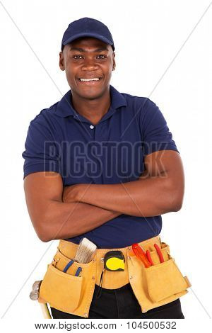 smiling young african repairman looking at the camera