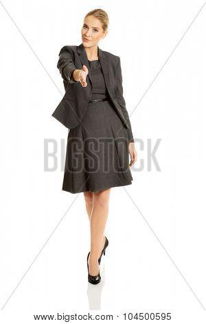 Beautiful woman ready to handshake