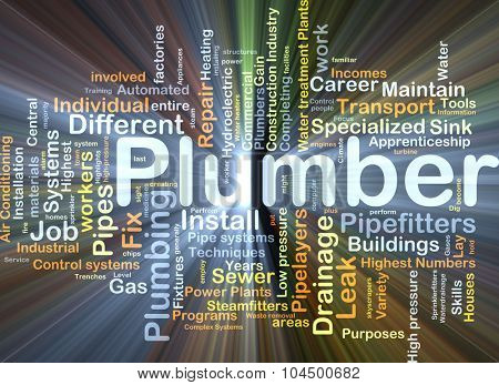 Background concept wordcloud illustration of plumber glowing light