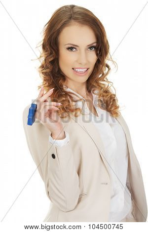 Businesswoman real estate agent with house pendant.