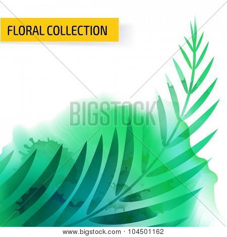 Seamless vector floral tropical pattern background with watercolor splash and jungle leaves. Abstract stripped geometric texture