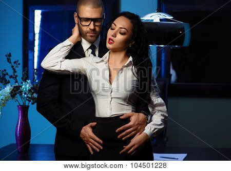 Couple Indoors. Office Romance Concept
