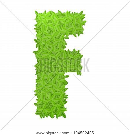 Uppecase letter F consisting of green leaves